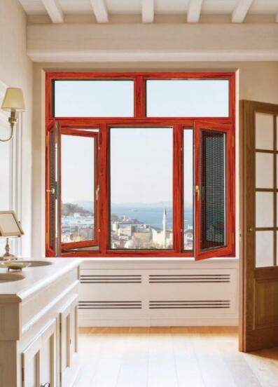 铝合金门窗十大品牌比思特卡菲利窗纱一体平开窗