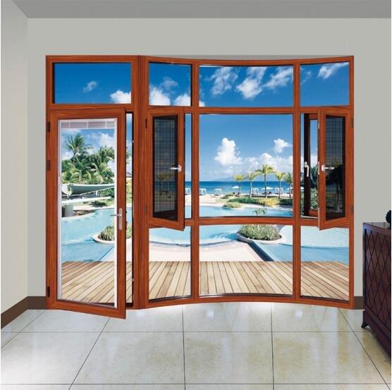 铝合金门窗十大品牌比思特蒂龙窗纱一体平开窗系列