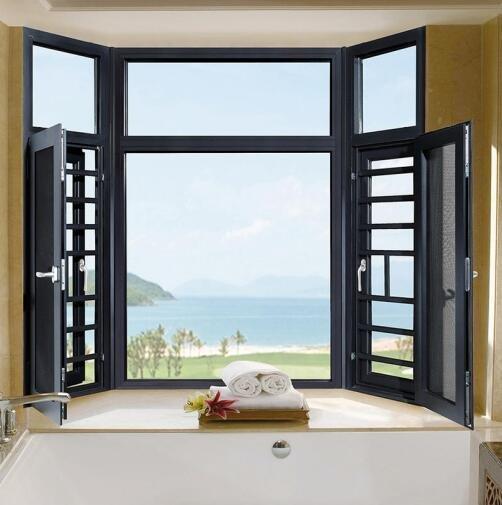 铝合金门窗十大品牌比思特卡菲利(非断桥)窗纱一体平开窗系列